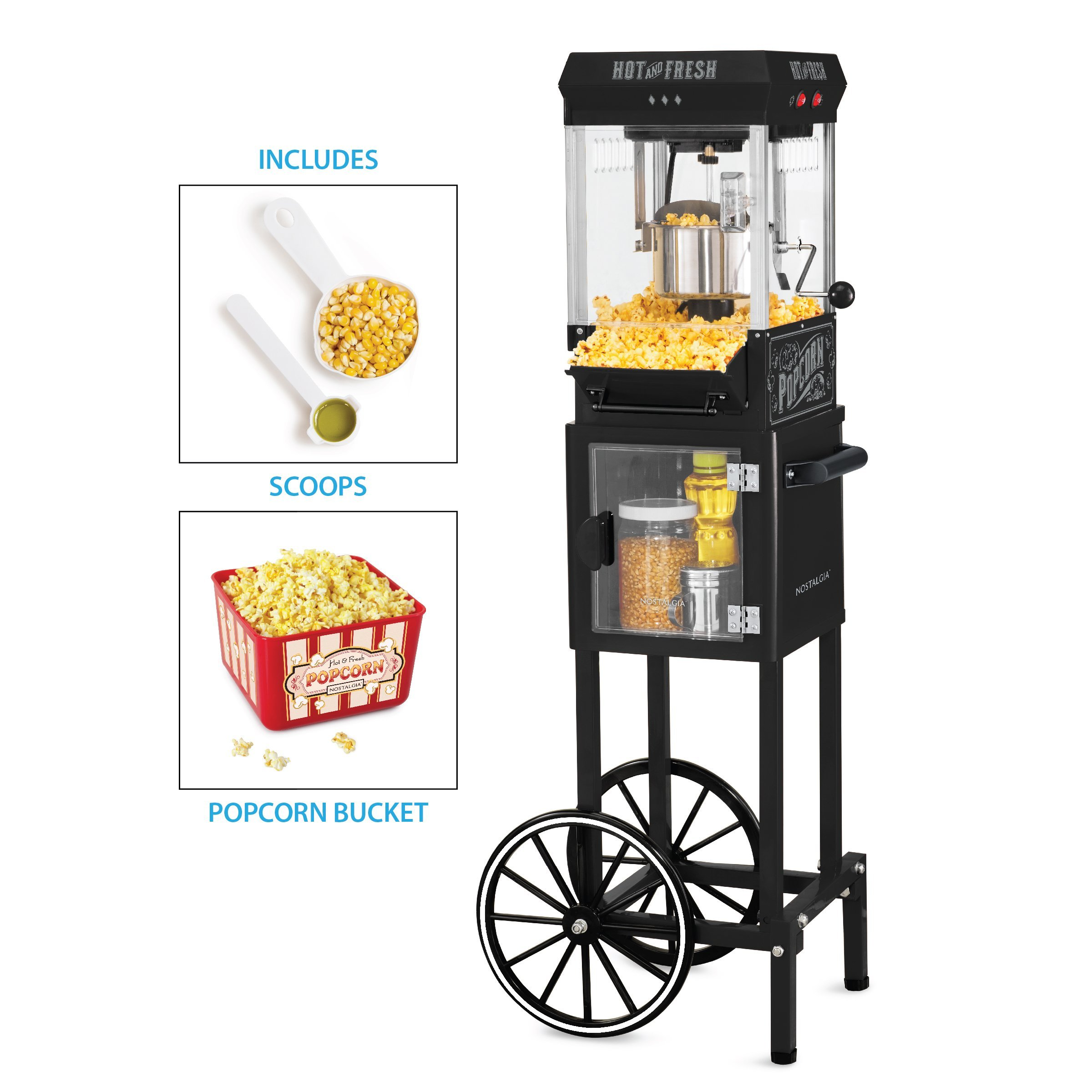 Nostalgia KPM200CTBK Vintage 2.5-Ounce Popcorn Cart with 5-Quart Bowl-45-Inches Tall, 2.5 oz, Black