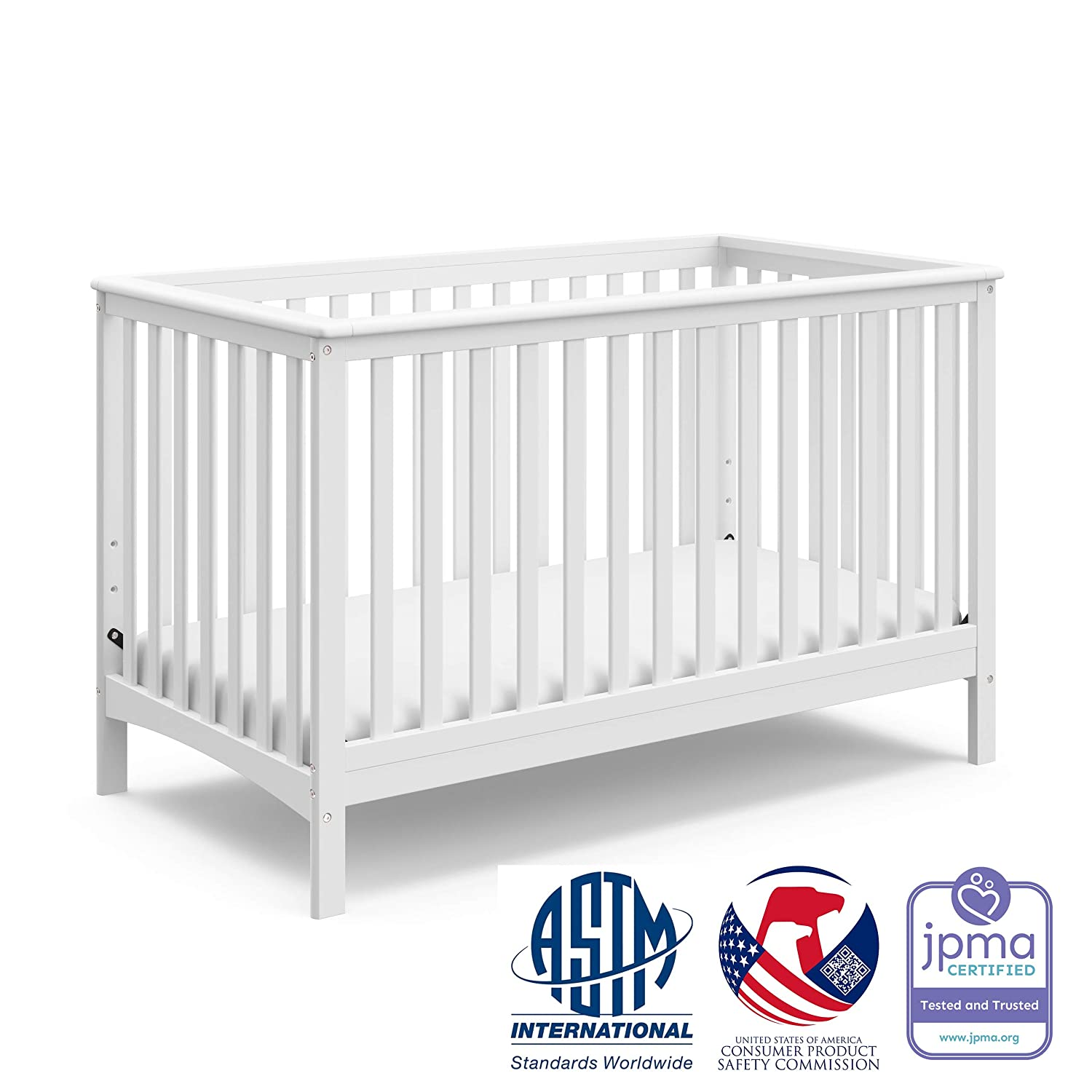 Storkcraft Hillcrest Fixed Side Convertible Crib, White, Easily Converts to Toddler Bed Day Bed or Full Bed, Three Position Adjustable Height Mattress, Some Assembly Required Mattress Not Included