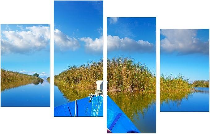 Bilderdepot24 Cuadros en Lienzo Barco Azul en la Albufera - Valencia España - 120x80 cm 4 Piezas - Enmarcado Listo Bastidor Imagen. Directamente Desde el Fabricante: Amazon.es: Hogar