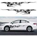TOMALL 2Pcs 102.7'' Flame Graphics Car Body Side Sticker Flame Racing Sports Stripe Decal for Car Universal Vinyl Self…