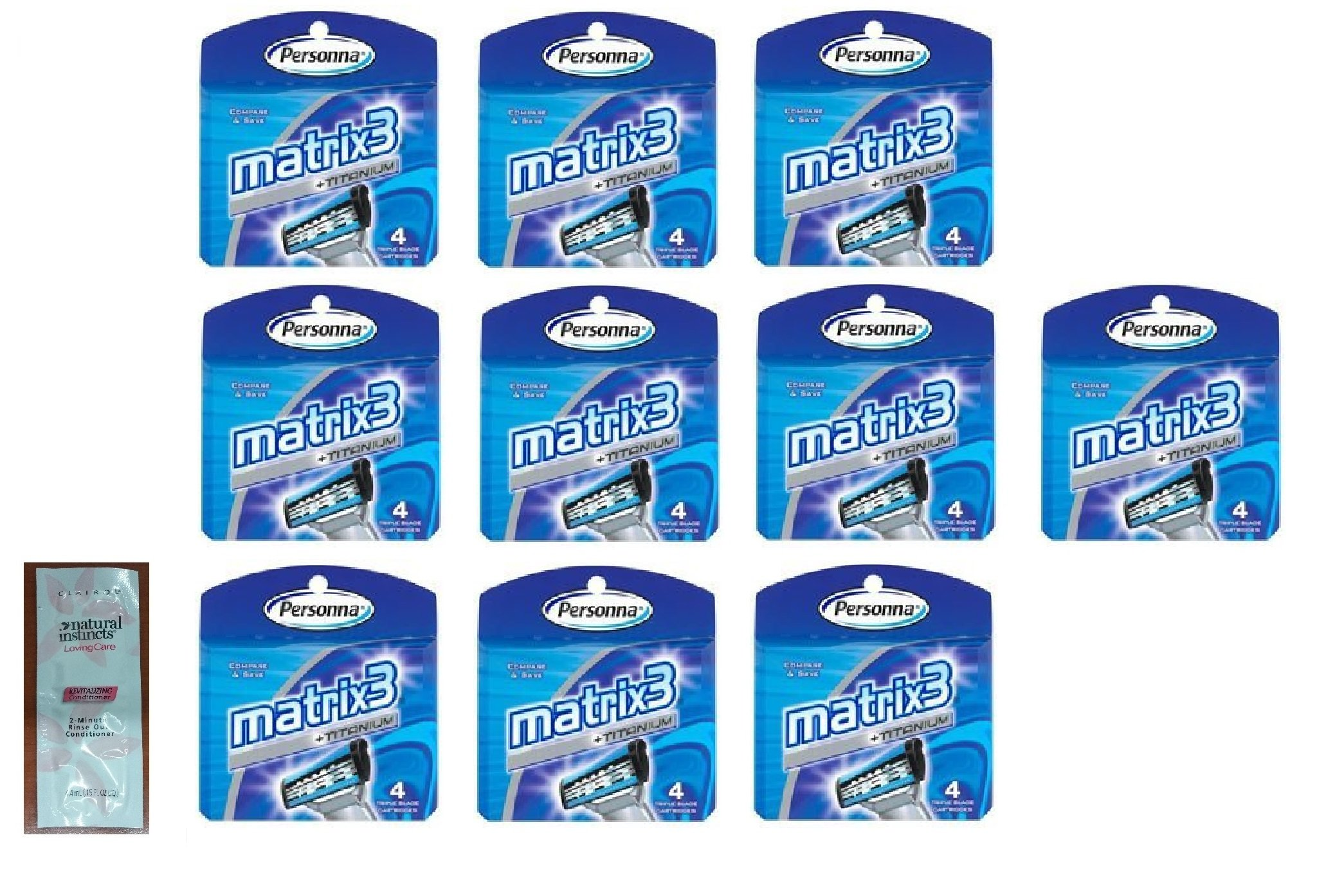 Personna Matrix3 Titanium Triple Blade Refill Cartridge Blades, 4 Ct. (Pack of 10) with FREE Loving Color trial size conditioner