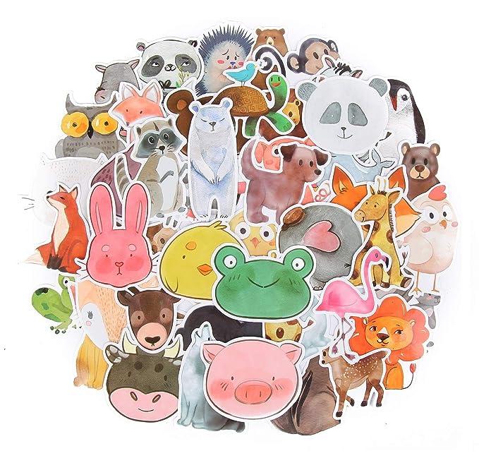 SetProducts ⭐ Top Pegatinas! ⭐ Juego de 50 Pegatinas de Animales Vinilos - No Vulgares - Fashion, Estilo, Bomba - Personalización Portátil, Equipaje, ...