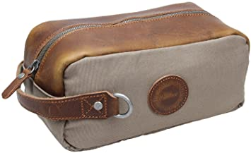 e3b384bbcaf9 Amazon.com   Iblue Men Canvas Travel Toiletry Bag Leather Shaving Dopp Kit  1064