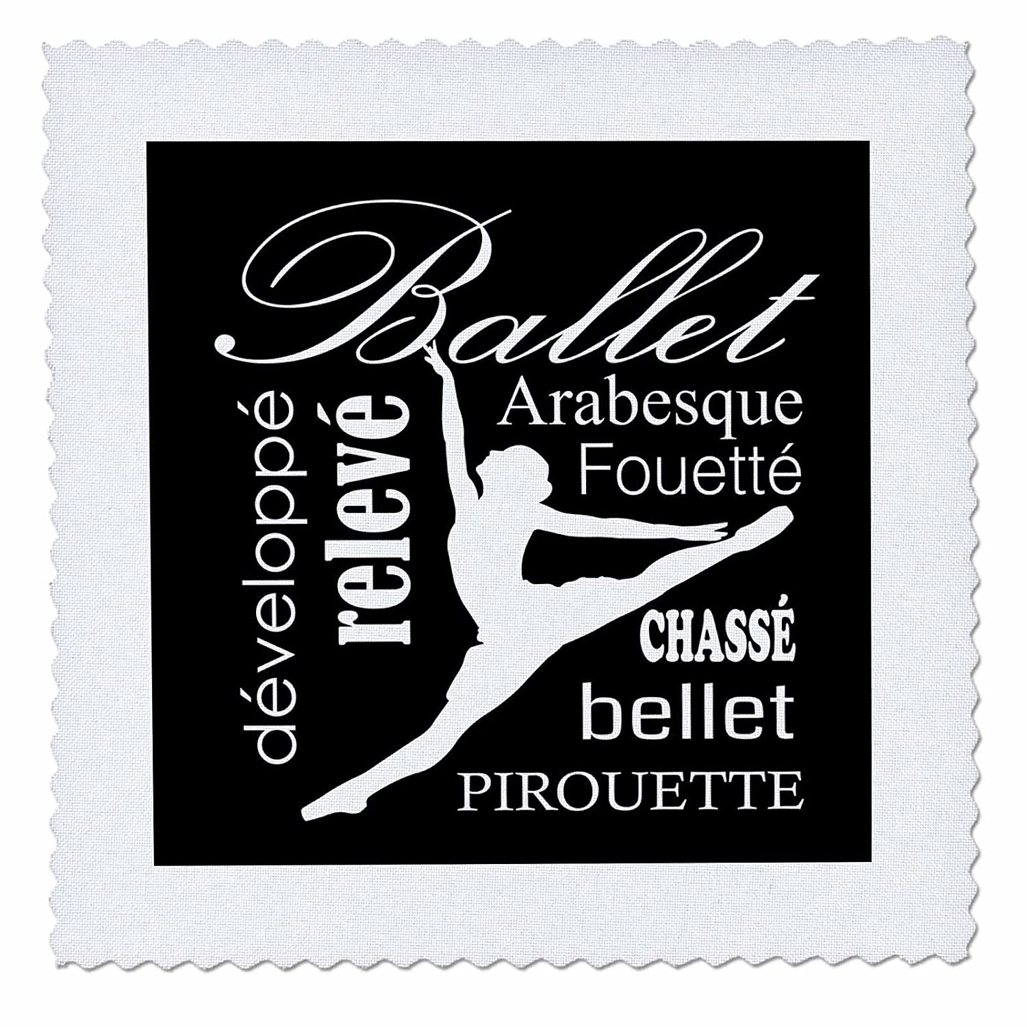 3D Rose White Silhouette of A Dancer Square Quilt 8 x 8 3dRose qs/_232727/_3