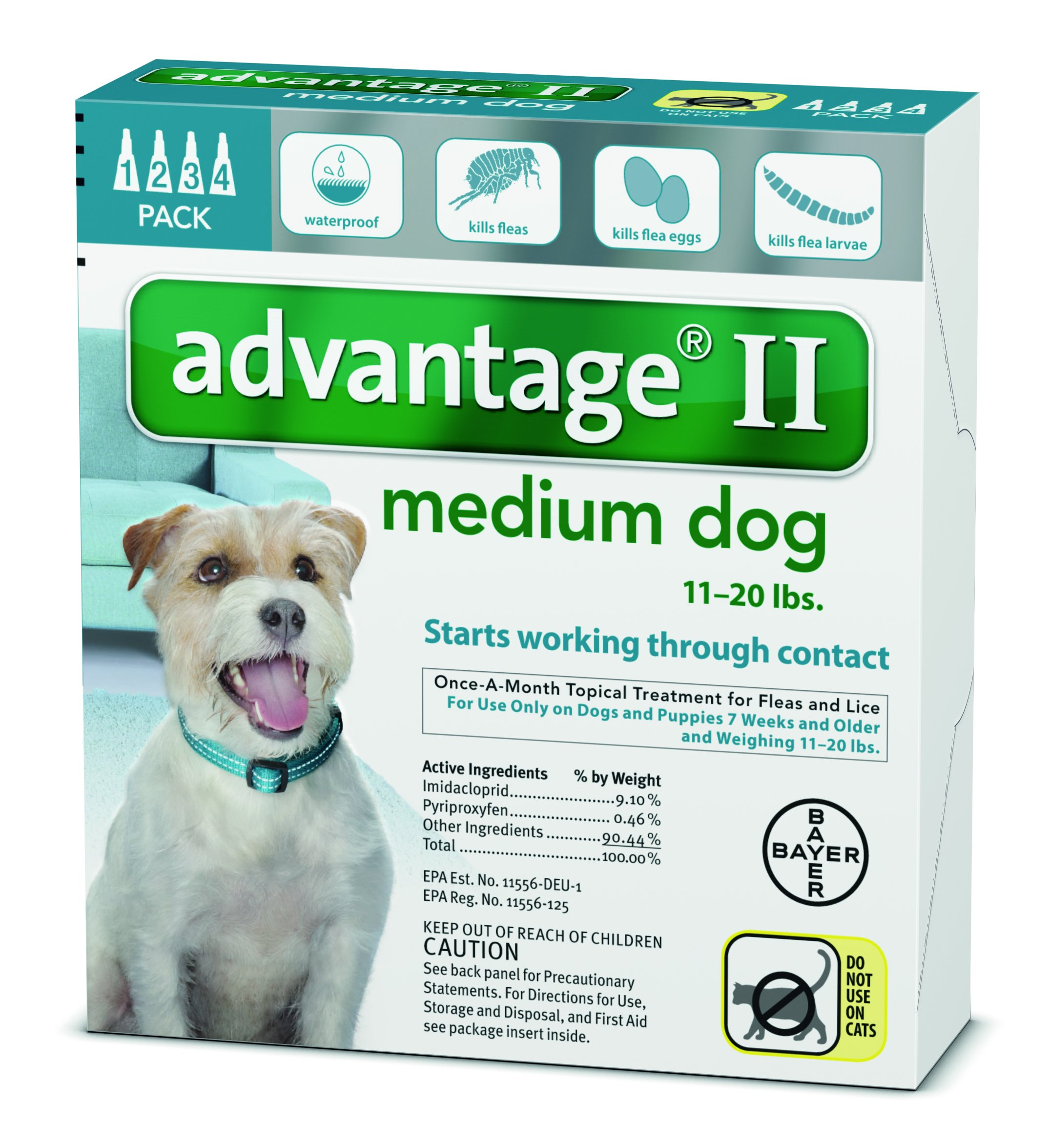 Advantage II for Dogs (11 to 20 lbs- 4 Pack)