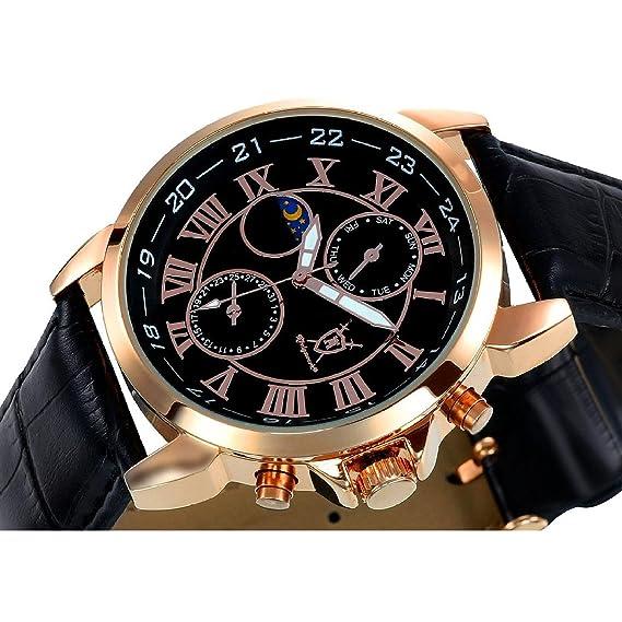 Reloj Clásico de Hombre con Pulsera Rosa Dorado, Esfera Negra con Números Romanos y Display
