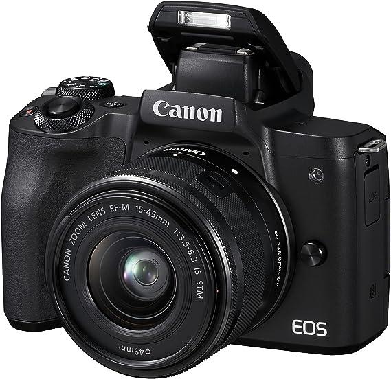 كاميرا كانون رقمية EOS M50، عدسة أحادية عاكسة ودقة 4K، دقة ٢٤ ميجابكسل، أسود