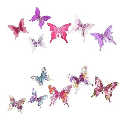 Roser Life Craft Butterflies Decorative Artificial Butterfly Clips Silk Fabric Butterfly Decorations Floral Butterflies Handmade Vintage