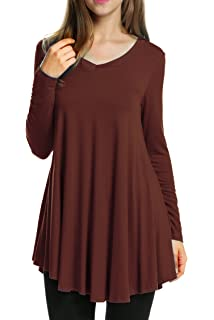 5716091a240 kingfansion Women Button Wrap Shirt Top Long Sleeve V-Neck T Shirts ...