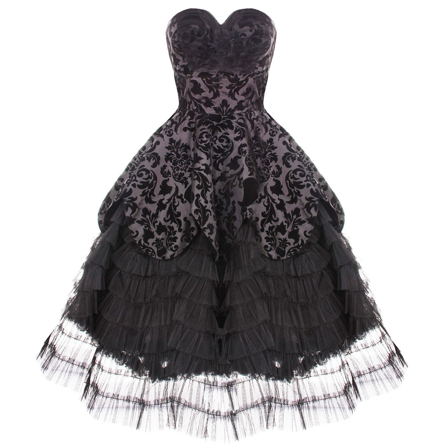 HELL BUNNY LAVINTAGE BLACK GOTH VICTORIAN STEAMPUNK MOURNING WEDDING DRESS WiTH EXCLUSIVE BLACKA MORE CARD