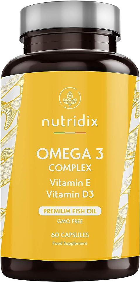 Omega 3 olio di pesce premium | 900 mg epa e 350 mg dha per dose | 60 capsule NUTOME60
