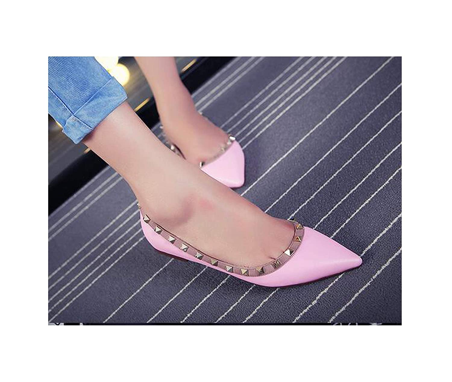 With logo4 FAT BABY Women's shoes Rhinestone Pointed Flat shoes Women's Rivet Pointed-Toe shoes Crystal Wedding shoes