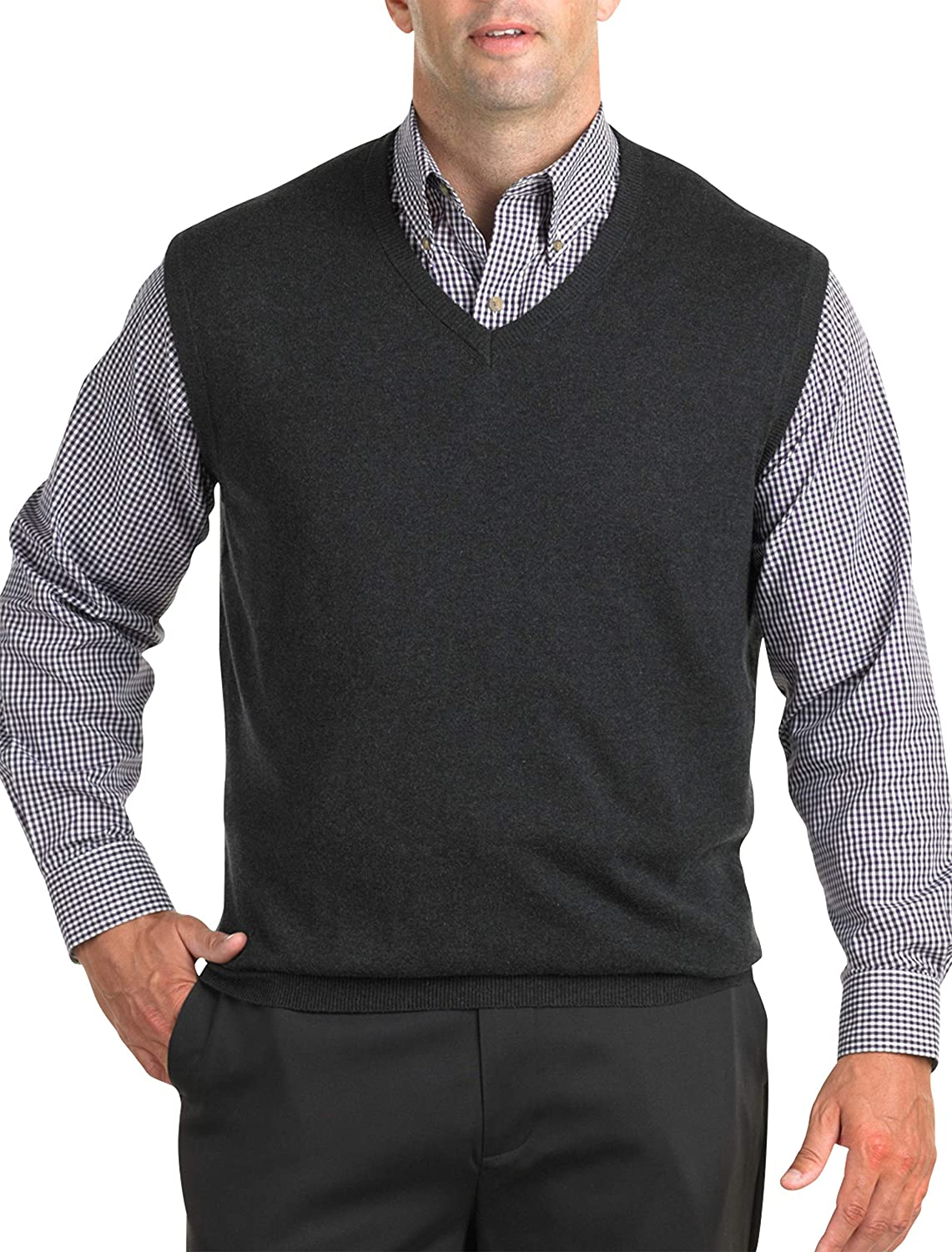 Harbor Bay by DXL Big and Tall V-Neck Sweater Vest