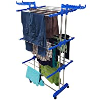 SUNDEX Heavy Duty Stainless Steel Double Pole Foldable Cloth Dryer/Clothes Drying Stand