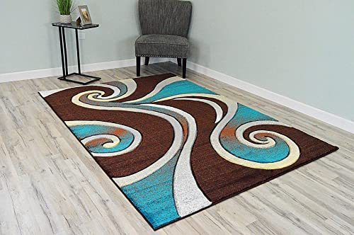 PlanetRugs Premium 3D Effect Hand Carved Thick Modern Contemporary Abstract Area Rug Design 327 Mocha Turquoise Brown 4'x5'3''