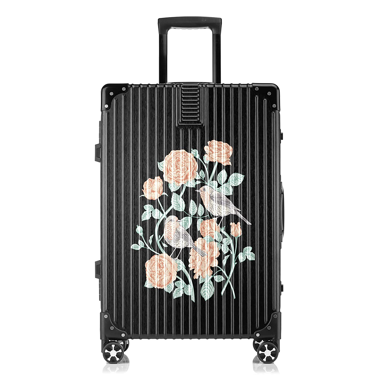 GSHCJ スーツケース 美しいバラの花 キャリーケース 20インチ おしゃれ ブラック Tsaロック搭載 プリント ハード 超軽量 軽い 機内持込 ロックファスナー 旅行 ビジネス 出張 海外 修学旅行 丈夫 便利 レディース メンズ 学生 B07RY9CD8B