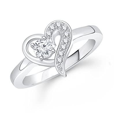 Meenaz Heart Ring Solitaire Ring For Valentine Love Silver Ring For Girls U0026  Women In American