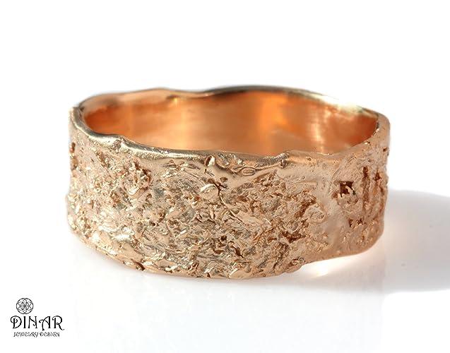3b0cd10365340 Solid gold wedding band, rustic wedding band, 14k/18k white/rose/yellow  gold wedding ring, wide men's band, women's band, textured tree bark,  ogranic design
