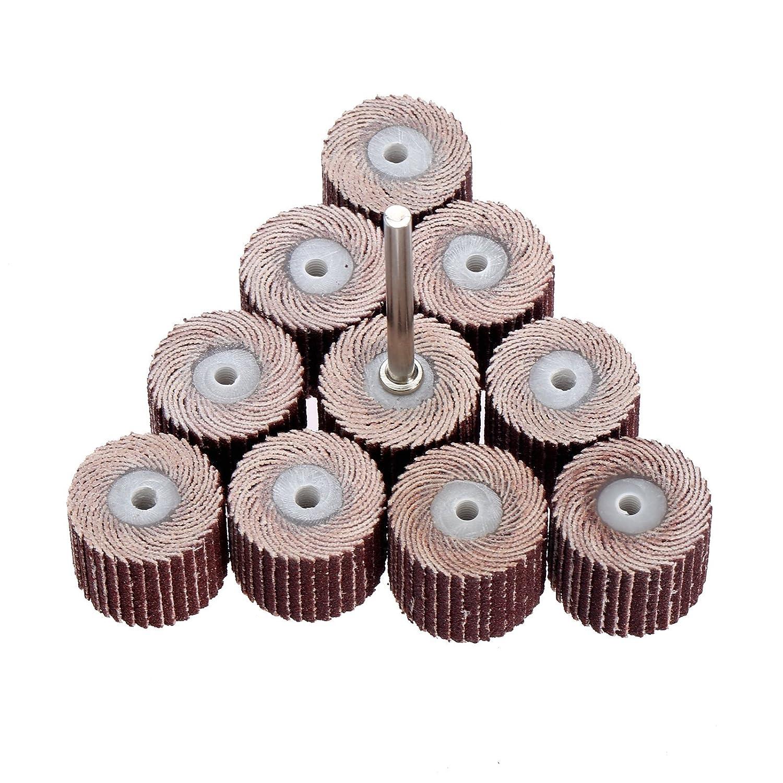 10Pc 240# Grit Dia 20mm Sanding Sandpaper Flap Polishing Grinding Wheel with 3mm Mandrel Set for Power Rotary Tools
