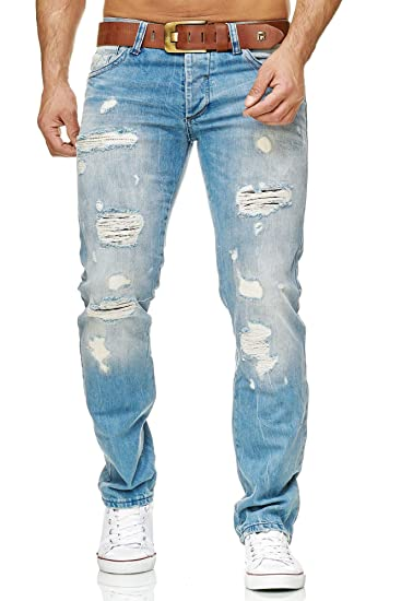 7eed79fa085611 Red Bridge Men's Denim Jeans Used Destroyed Cuts Fashion Straight Leg  Trousers
