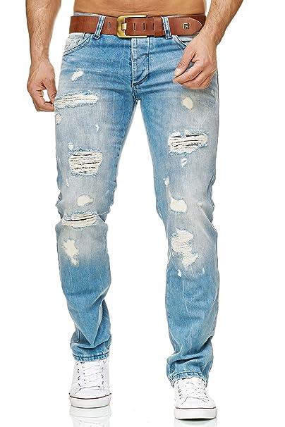 Redbridge Hombres Denim Jeans Ajustados Vaqueros Casuales Destruido Efectos Moda Pantalón