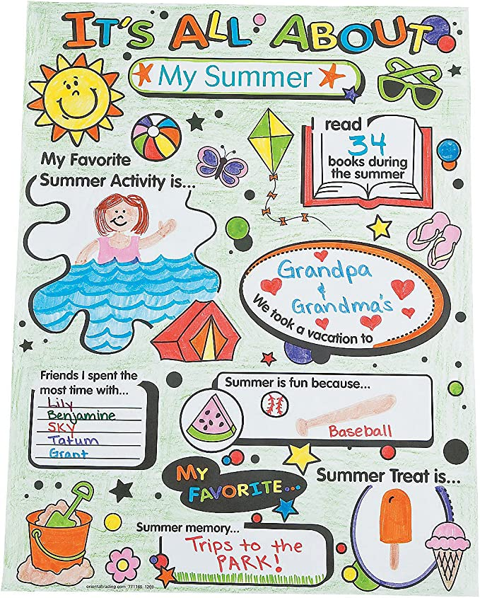 30 Pieces Fun Express Color Your Own All About Me Poster Craft Kits for Kids