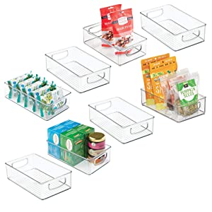 """mDesign Stackable Plastic Kitchen Pantry Cabinet, Refrigerator or Freezer Food Storage Bin with Handles and Lid - Organizer for Fruit, Yogurt, Snacks, Pasta - BPA Free, 6"""" Wide, 8 Pack - Clear"""