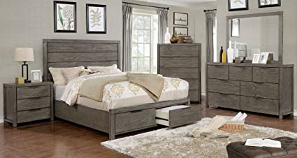 Esofastore ASTEROPE Collection California King Size Bed W Drawers FB Plank Style  Bedframe W Matching Dresser