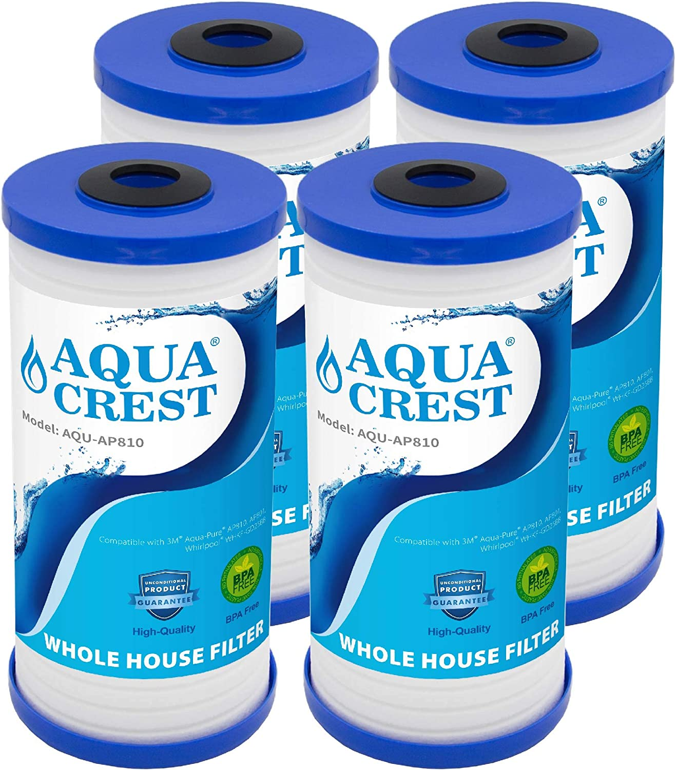 AQUACREST AP810 Whole House Water Filter, Compatible with 3M Aqua-Pure AP810, AP801, AP811, Whirlpool WHKF-GD25BB, Pack of 4