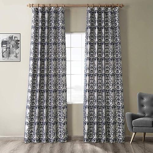 HPD Half Price Drapes PTFFLK-C7D-120 Flocked Faux Silk Curtain, 50 X 120, Silver Blue