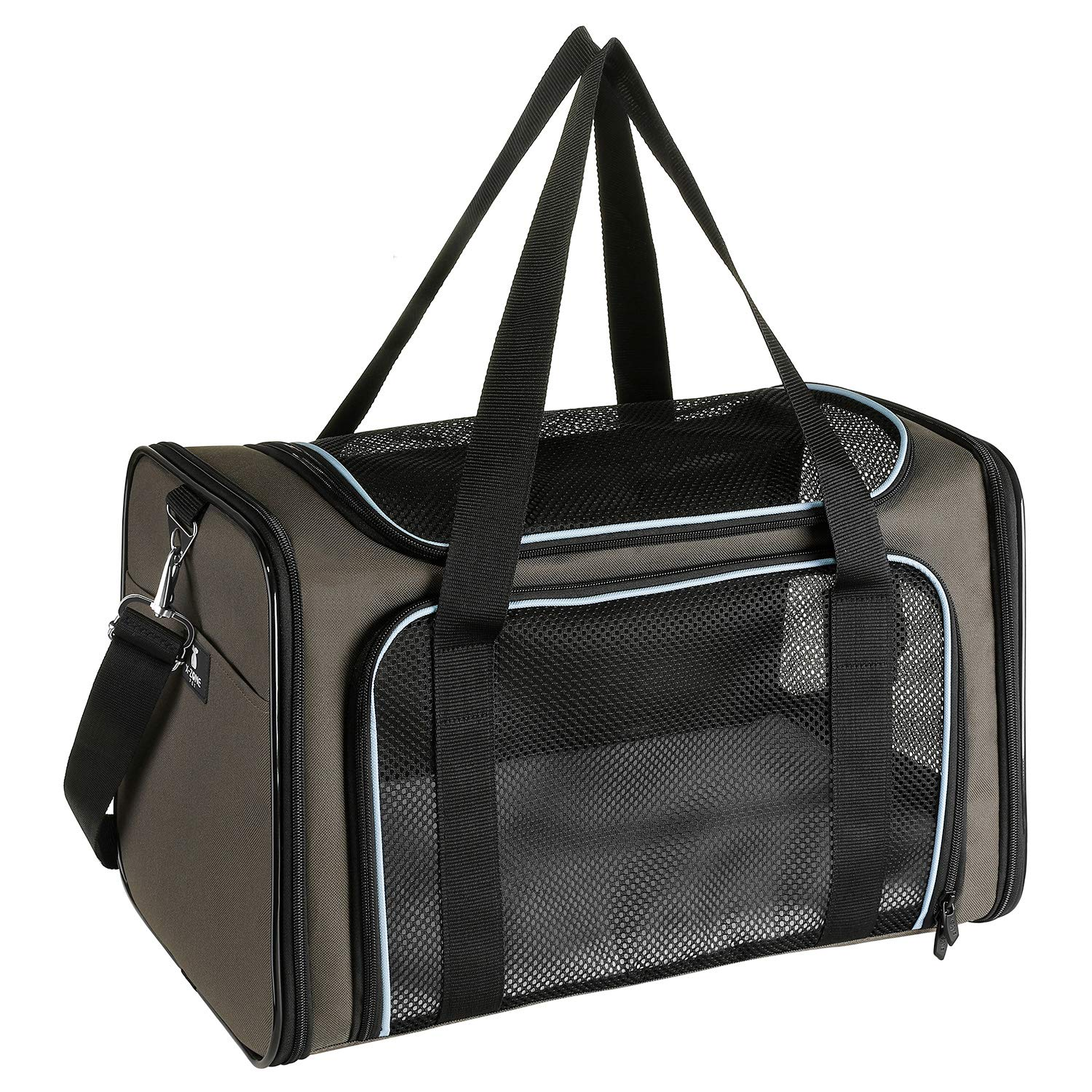 Brown&bluee MediumXZONE PET Pet Carriers Airline Approved, Soft Sided Collapsible for Medium Puppy and Cats