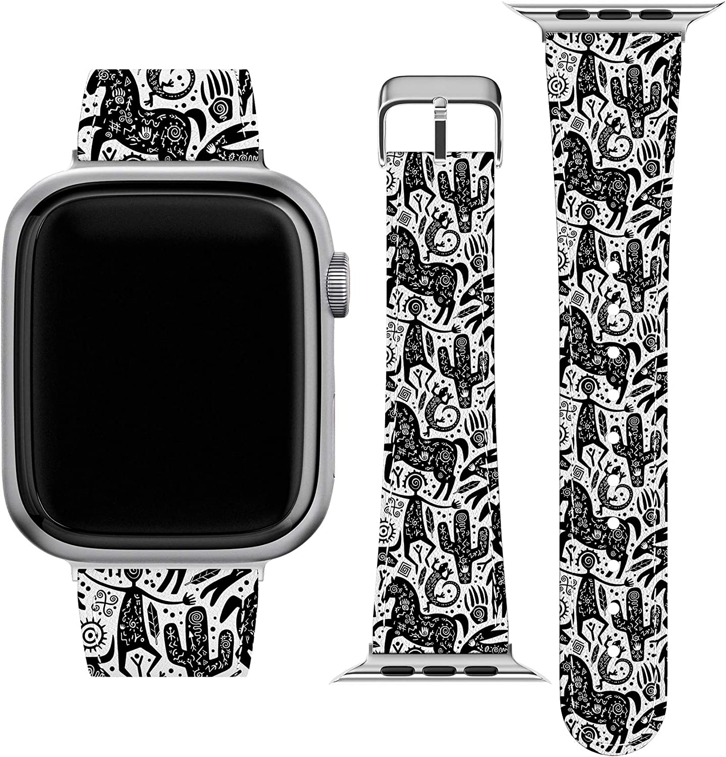 Lex Altern Band Compatible with Apple Watch Series 6 SE 5 4 3 2 1 38mm 40mm 42mm 44mm Native American PU Leather Durable Wristband Cute Stylish Aboriginal Print Animals Tribal Replacement Strap wh487
