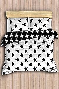 DecoMood Stars Bedding Set, Full/Queen Size Quilt/Duvet Cover Set, Black and White Girls Boys Bed Set, Reversible, Comforter Included (5 Pcs)