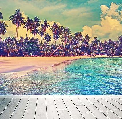 Vintage Miami Beach Wall Mural Photo Wallpaper Sunset Palm