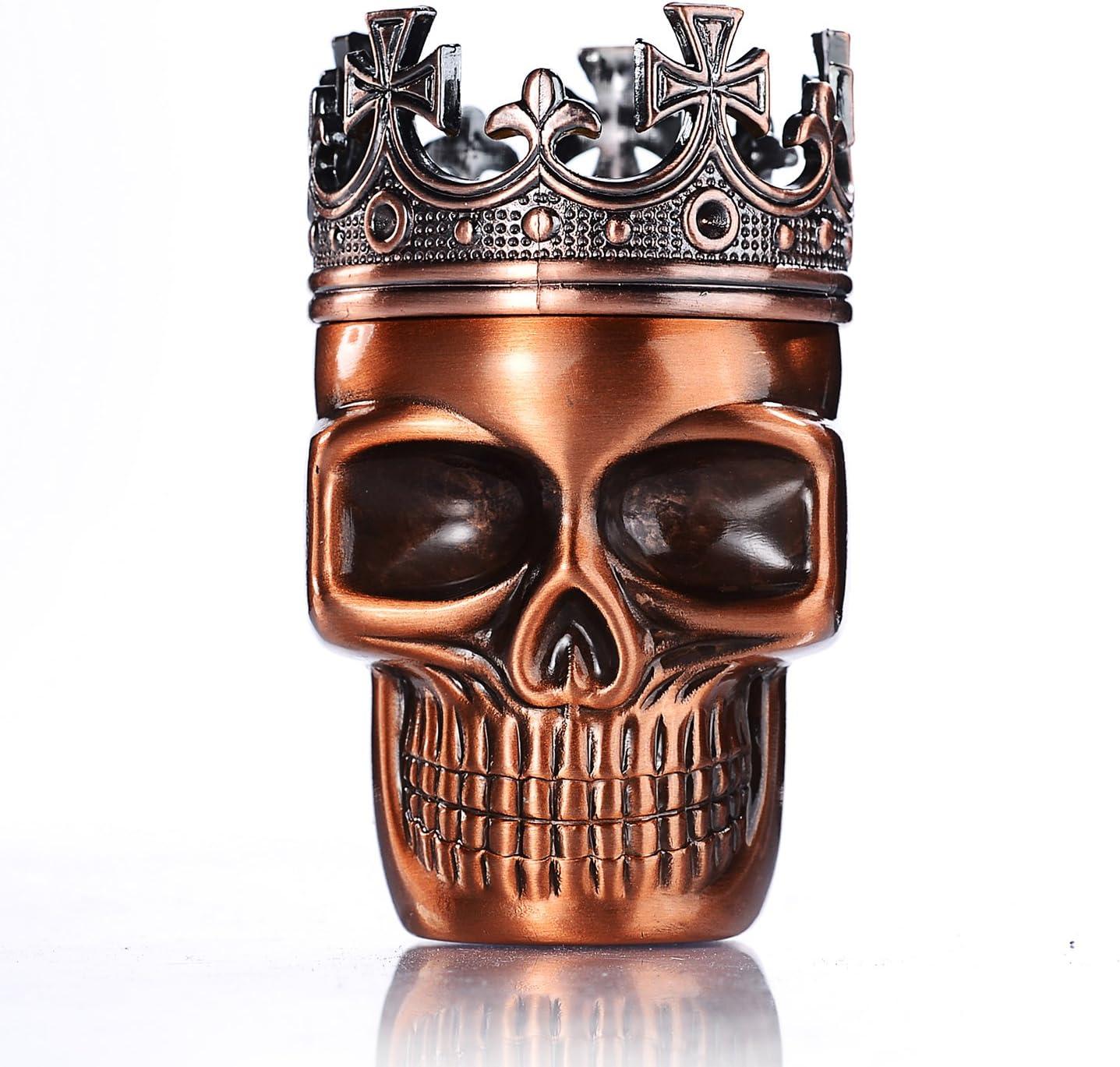 LIHAO Grinder Metálico Cráneo con Corona para Hierbas y Especias (Bronce Rojo, 45mm)