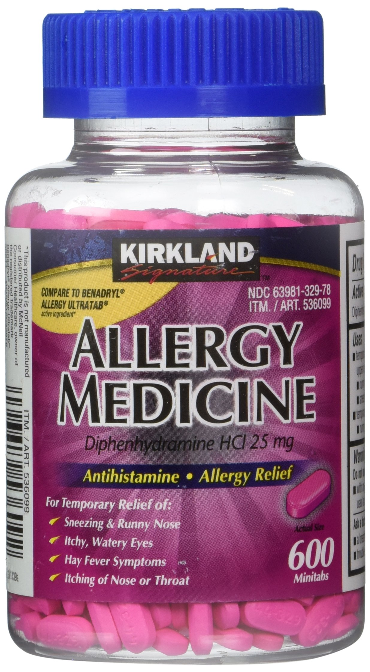 Kirkland Brand, Diphenhydramine HCI 25 Mg, (600 Count)-Allergy Medicine and AntihistamineCompare to Active Ingredient of Benadryl Allergy Generic