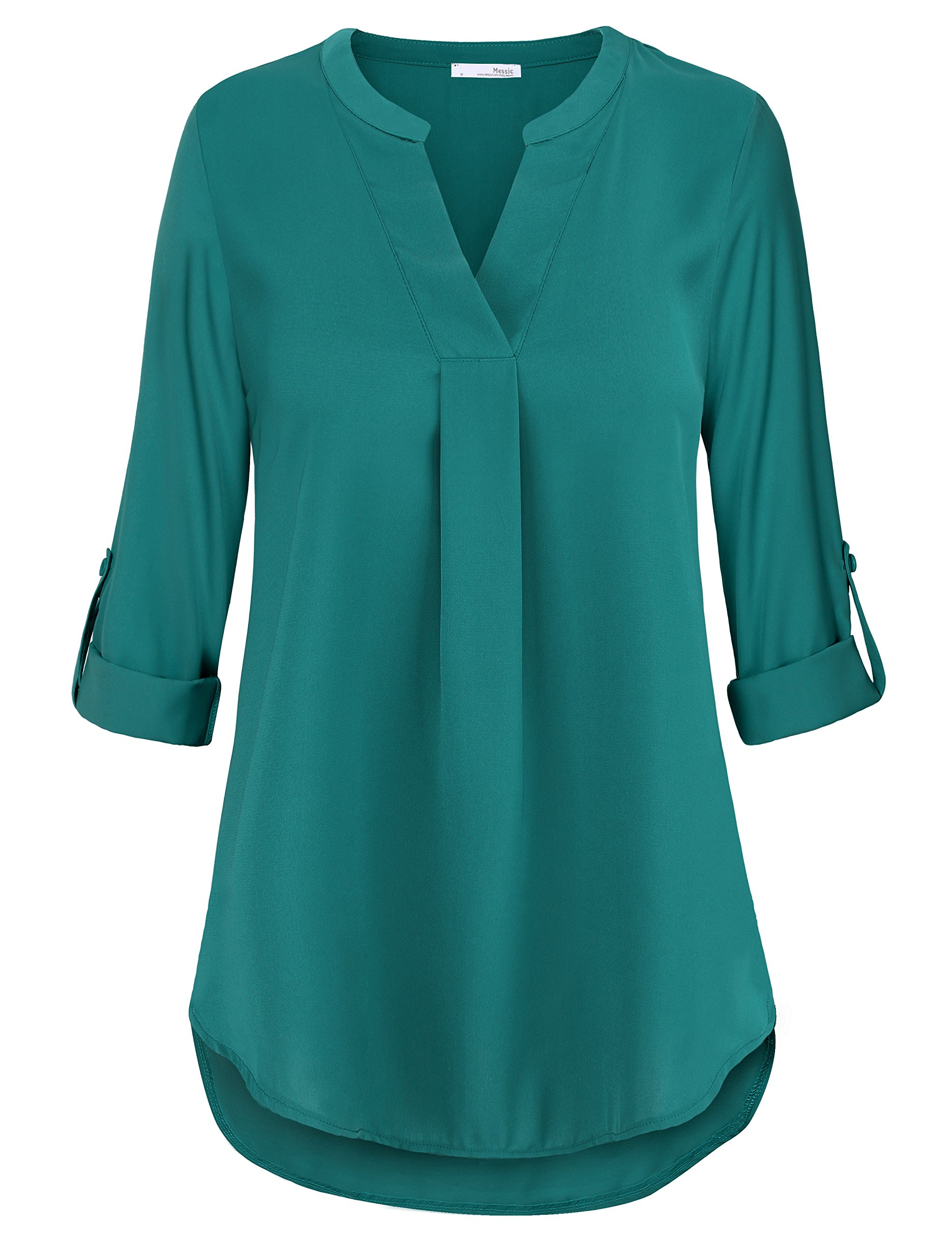 Messic Direct Tunic Tops for Leggings for Women to Wear Long Sleeve Chiffon Blouses for Work Business Casual Tunic Shirts Dark Cyan Medium by Messic Direct