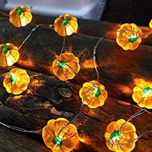 TURNMEON 2 Pack 3D Thanksgiving Pumpkin Lights Fall Garland Decor, Total 20Ft 40 LED Warm White Lights Battery Powered Fall Lights for Halloween Thanksgivings Pumpkin Harvest Home Indoor Decorations