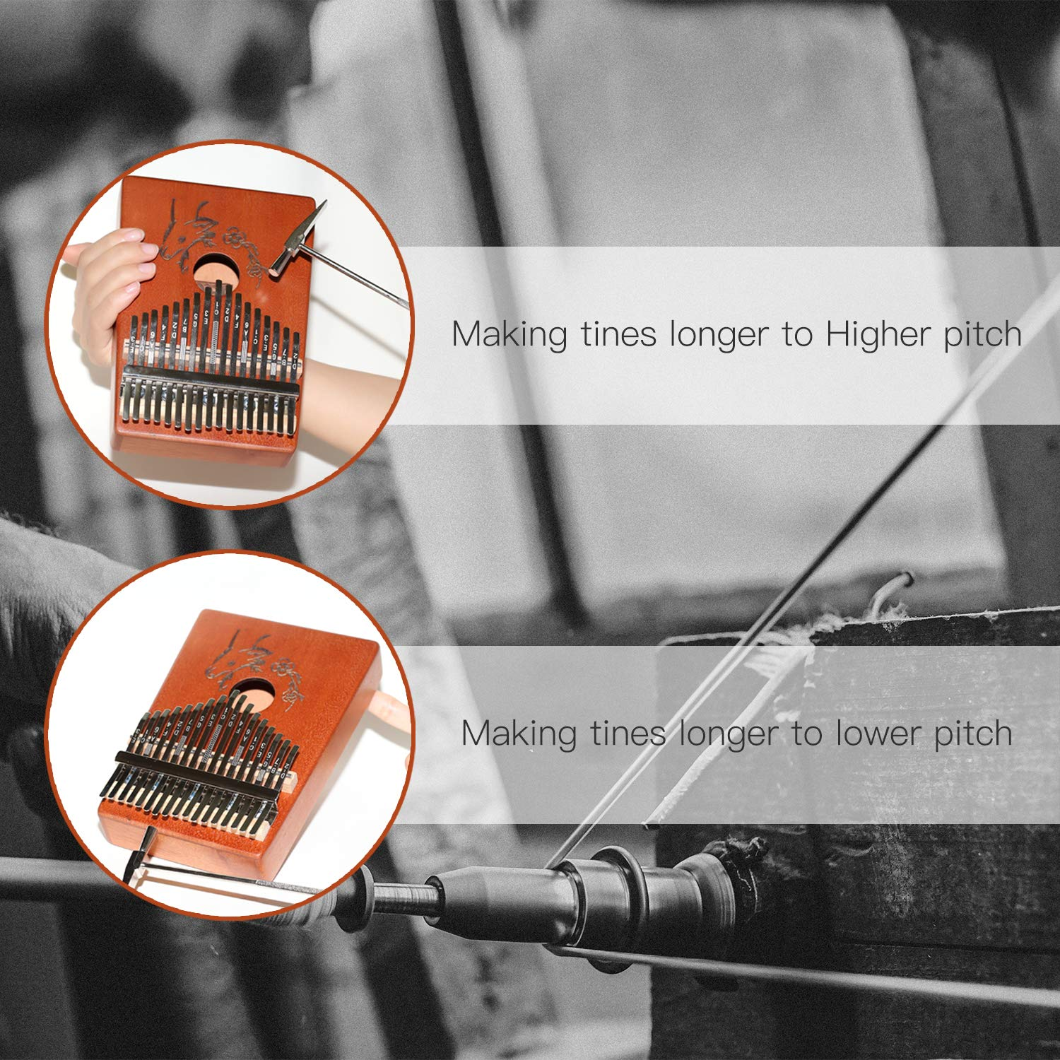 AECCN Kalimba 17 Keys Thumb Piano - Pocket Size With Study Instruction and Tune-Hammer & Simple Sheet Music, Christmas Day Birthday Gifts Idea for Kids Adults Beginners, Professionals (Deer) by AECCN (Image #4)
