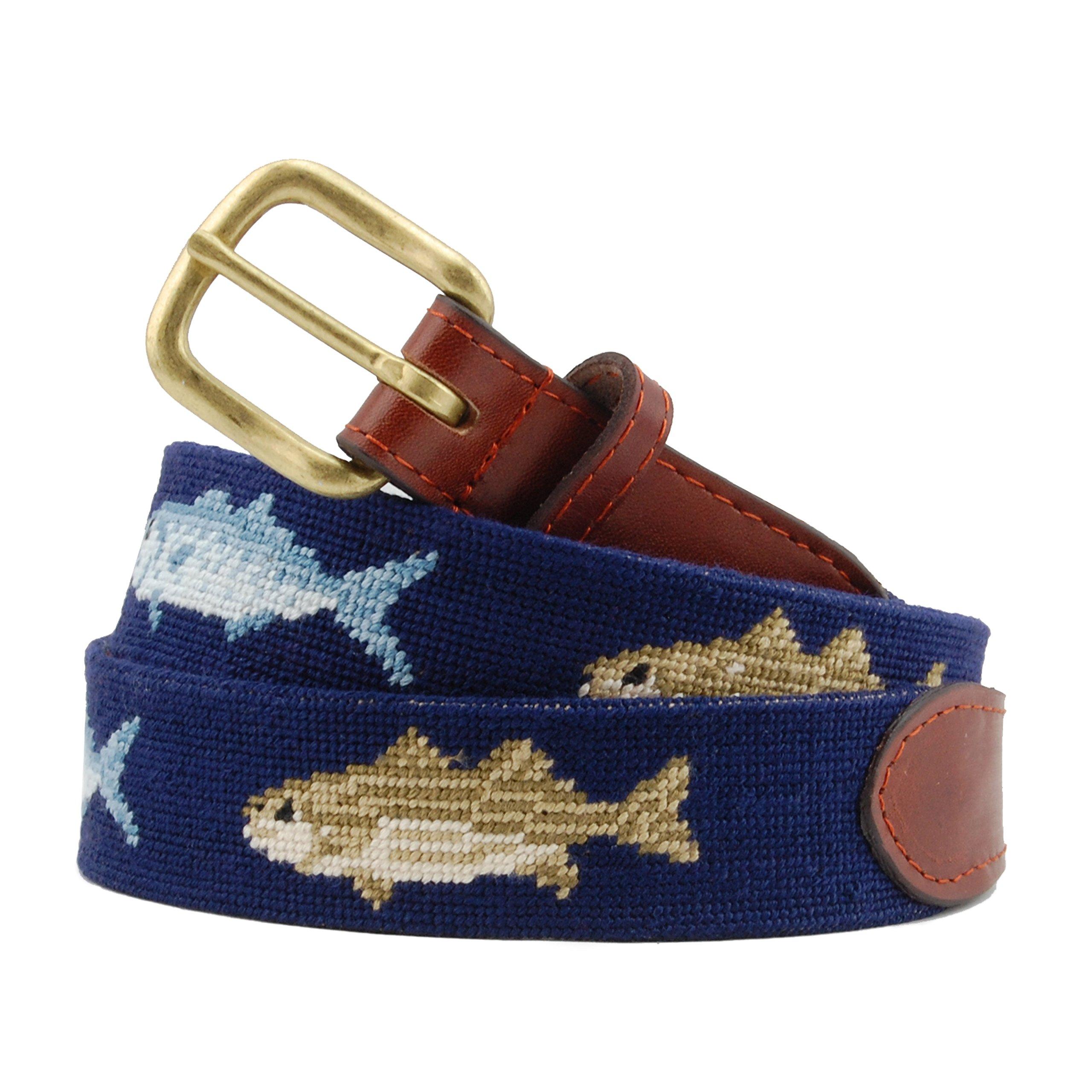 Smathers & Branson Men's Bluefish and Striper Needlepoint Belt 38 Dark Navy