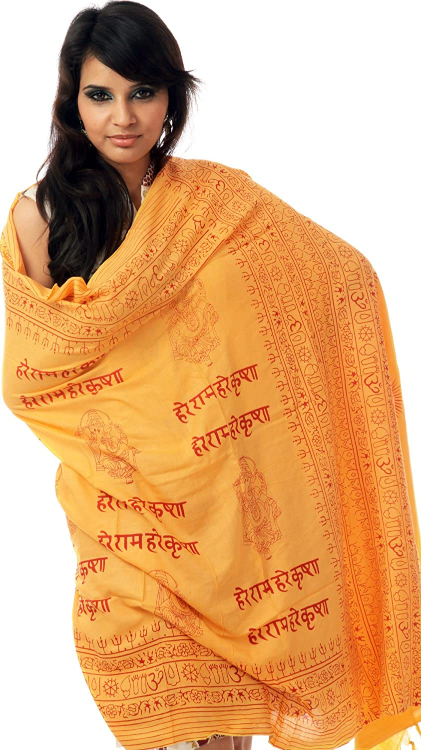 Exotic India Hare Rama Hare Krishna Prayer Shawl with Printed Ganeshas - Yellow SRA93