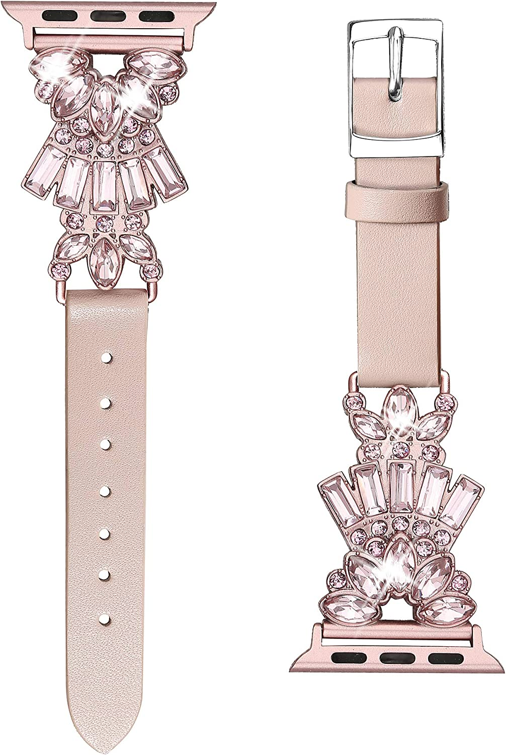 Secbolt Band Compatible with Apple Watch Band 38mm 40mm iWatch Series 6/5/4/3/2/1 SE, Top Grain Leather with Bling Crystal Diamonds Wristband Strap Accessories Women, Pink Small