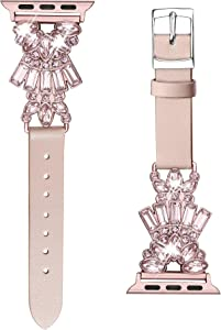 Secbolt Band Compatible with Apple Watch Band 38mm 40mm iWatch Series 6/5/4/3/2/1 SE, Top Grain Leather with Bling Crystal Diamonds Wristband Strap Accessories Women, Pink Large