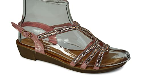 Damen Sandalen Sandaletten Zehentrenner Glitzer Keilabsatz ST33 neu