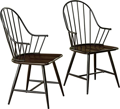 Target Marketing Systems Windsor Set Farmhouse Inspired Spindle Back Arm Chairs