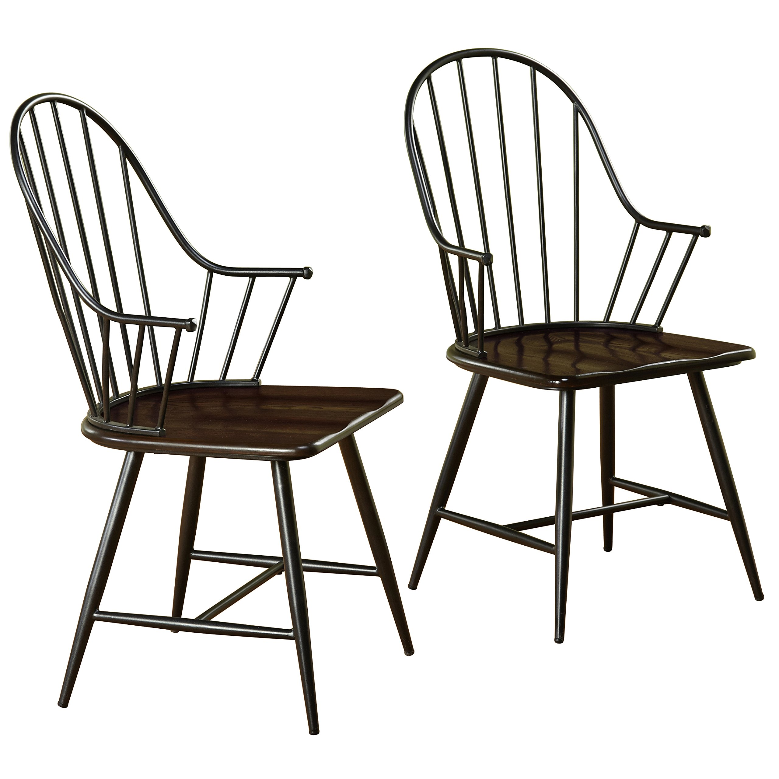 Target Marketing Systems Windsor Set of 2 Farmhouse Inspired Spindle Back Arm Chairs with Saddle Seat, Set of 2, Black/Espresso by Target Marketing Systems