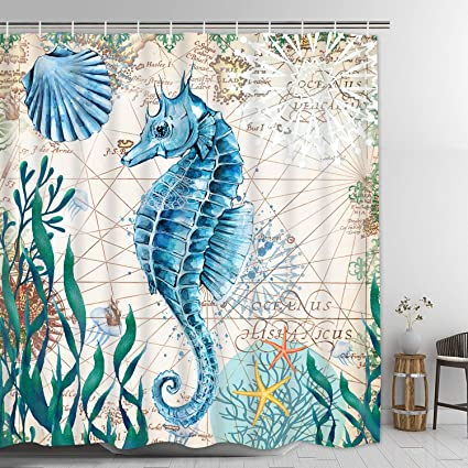Seahorse Shower Curtain Nautical Sea Creatures Ocean Animals With 12 Hooks