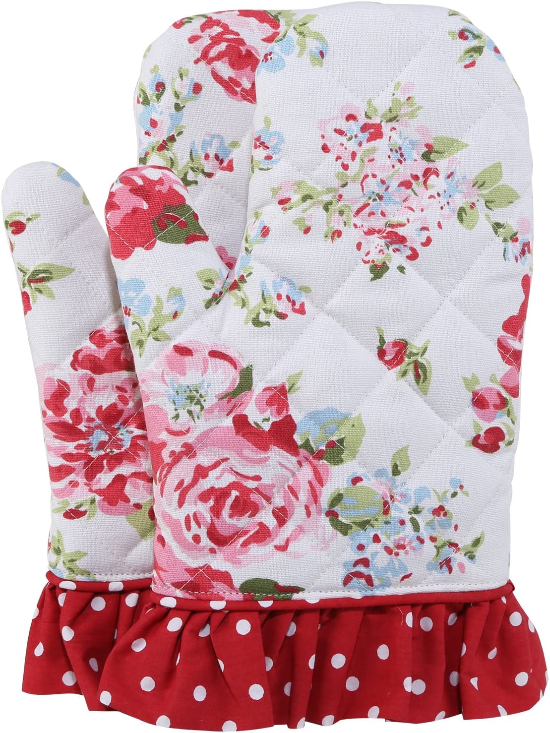 NEOVIVA Cotton Canvas Quilted Oven Mitt for Adult Women, Set of 2, Floral Lollipop Red