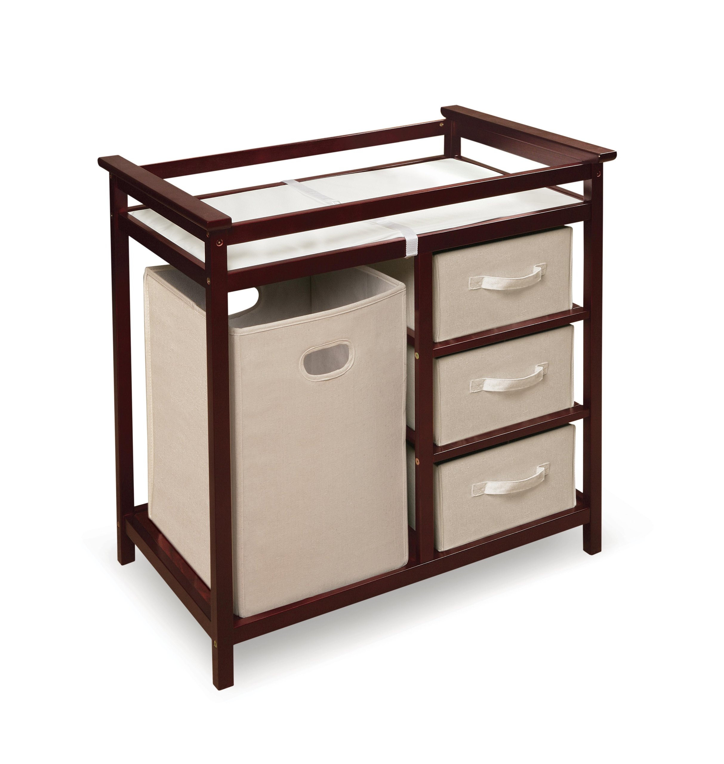Badger Basket Modern Changing Table with 3 Baskets and Hamper, Cherry