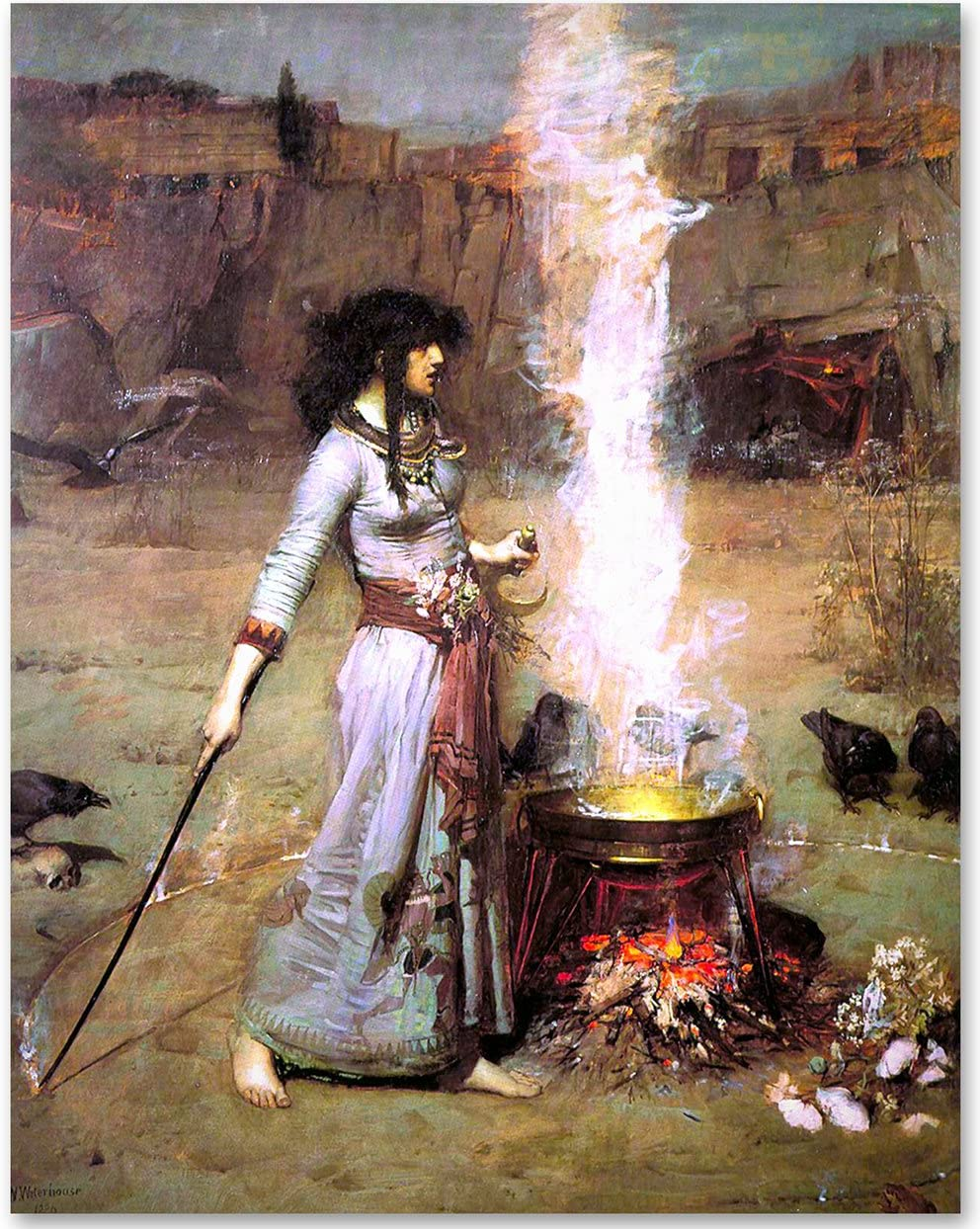Magic Circle (The Witch) by John William Waterhouse - 11x14 Unframed Art Print - Makes a Great Gift Under $15 for Art Lovers…